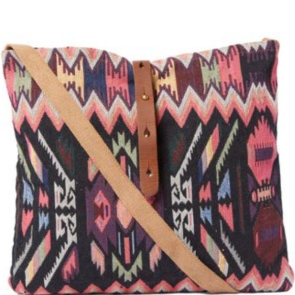Raj Large Pink and Black Geometric Cross Body Bag